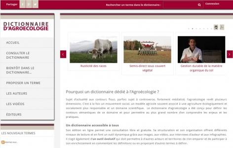 Page accueil dictionnaire d'Agroécologie